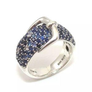 Effy BH Beliissima SS Blue Sapphire/diamond ring
